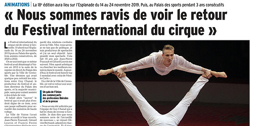 Article dauphiné libéré 2019 Festival International du Cirque à Grenoble